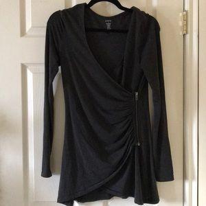 Zobha charcoal grey yoga wrap cardigan jacket
